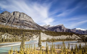 Picture forest, the sky, clouds, mountains, rocks, shore, ate, Canada, Albert, pond, national Park, Banff