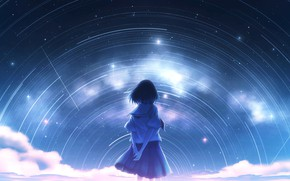 Picture the sky, girl, night, the milky way, Starfall, by Nengoro