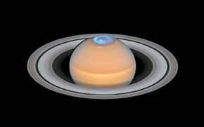 Picture Hubble, Saturn, Solar system, Polar lights