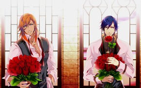Picture flowers, anime, art, guys, bouquets, Uta no Prince-sama