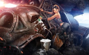 Wallpaper machine, foam, girl, the game, art, bucket, Pin-Up, post apocalypse, wash, Crossout