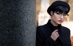 Picture look, girl, portrait, glasses, hat, Giorgia