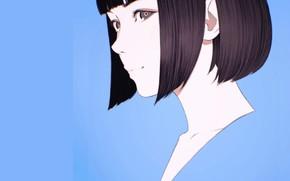 Picture face, haircut, blue background, bangs, portrait of a girl, Ilya Kuvshinov