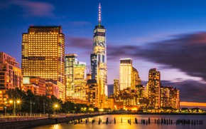 Picture night, the city, lights, street, view, building, tower, New York, skyscrapers, the evening, USA, architecture, …