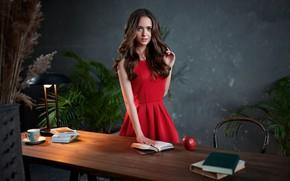 Picture look, girl, pose, photo, table, room, Apple, dress, brunette, lips, book, beauty, Sergey Olszewski