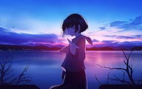 Picture schoolgirl, twilight, paper airplane