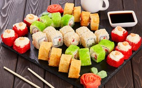 Picture sauce, sushi, rolls
