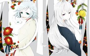 Picture flowers, snake, Fox, Kamisaa The Hajimemashita, Tomoe, Mizuki