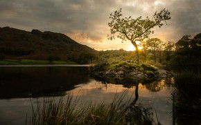 Picture sunset, mountains, reflection, tree, shore, pond