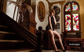 Picture sexy, pose, model, portrait, interior, makeup, figure, dress, hairstyle, ladder, shoes, brown hair, legs, in …