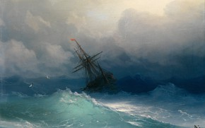 Picture picture, seascape, Ivan Aivazovsky, A ship in Stormy Seas