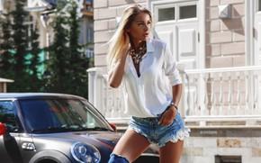 Picture machine, auto, girl, pose, shorts, blouse, Alexander Sergeyev, Denis Doronin