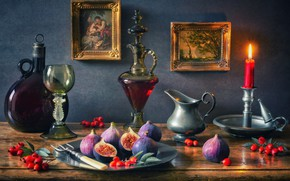 Picture style, berries, wine, glass, bottle, candle, briar, pictures, still life, candle holder, decanter, figs, figs