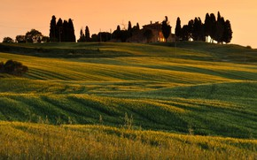 Picture house, the evening, hill, Italy, Tuscany, Валь-д'Орча