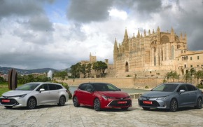 Picture auto, the city, the building, Toyota, Corolla