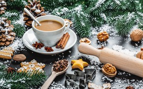 Picture cookies, Cup, Christmas table, treats, serving