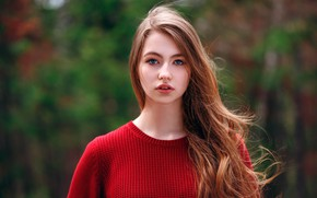Wallpaper look, girl, model, portrait, makeup, hairstyle, in red, redhead, bokeh, Andrey Zhukov