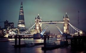 Picture night, lights, England, London, Tower bridge