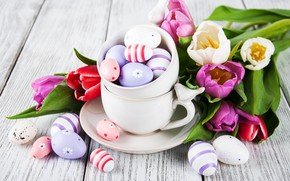Picture flowers, eggs, colorful, Easter, tulips, happy, wood, pink, flowers, tulips, Easter, purple, eggs, decoration