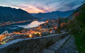 Picture sea, mountains, night, Montenegro, To