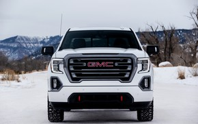 Picture white, front view, pickup, GMC, Sierra, AT4, 2019