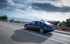 Picture Jaguar, shadow, the fence, sedan, in motion, on the road, Jaguar XF, 2020, XF