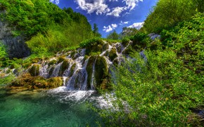 Picture greens, forest, summer, the sky, the sun, clouds, trees, waterfall, the bushes, Croatia, Plitvice Lakes …