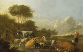 Picture oil, picture, canvas, 1688, Albert Klomp, Albert Klomp, Landscape with cattle
