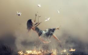 Picture FIRE, FLIGHT, DRESS, BRUNETTE, BIRDS, SUNDRESS, ORIGAMI