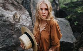 Picture look, girl, model, hair, portrait, hat, Yulia, Dmitry Takemethere
