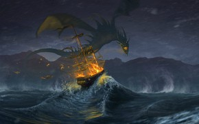 Picture waves, fire, fantasy, storm, Dragon, rain, horns, sea, wings, artwork, fantasy art, creature, sailing ship