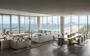 Picture interior, living room, dining room, Florida, Ocean Penthouse, South Miami Beach