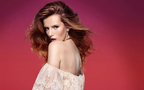 Picture girl, background, back, actress, red, beauty, Bella Thorne