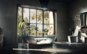 Picture window, bath, art, Detroit Become Human, carl bathroom
