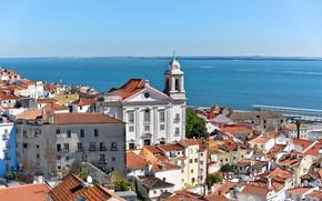 Picture sea, building, home, roof, Portugal, Lisbon, Portugal, Lisbon, Бухта Мар-да-Палья, Mar da Paglia