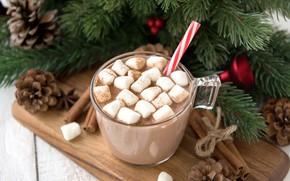 Picture decoration, New Year, Christmas, mug, Christmas, cup, New Year, cocoa, decoration, xmas, Merry, fir tree, …