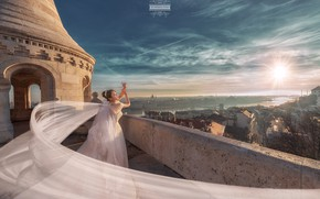 Picture the sky, girl, the sun, the city, pose, train, dress, wedding, Joshua Chang