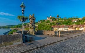 Picture bridge, river, building, home, Germany, Bayern, lights, statue, fortress, Germany, Bavaria, Old Bridge, Old Bridge, …