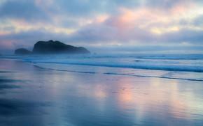 Picture sea, beach, the sky, clouds, sunset, fog, rocks, coast, horizon, Oregon, Bandon