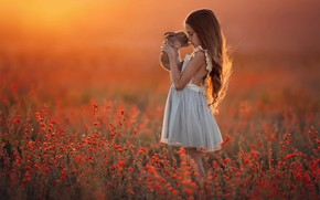 Picture field, rabbit, Girl