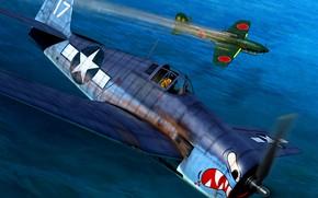 Picture Yokosuka, F6F-3 Hellcat, US Navy, NJAF, scout-dive bomber shipborne, D4Y Suisei