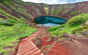 Picture iceland, volcano, golden circle, kerid crater lake