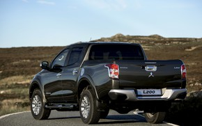 Picture road, asphalt, Mitsubishi, rear view, pickup, L200, 2015