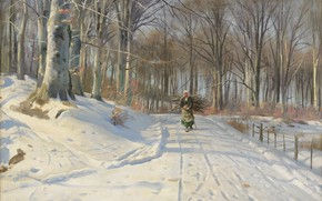 Picture 1932, Danish painter, Peter Merk Of Menstad, Peder Mørk Mønsted, Danish realist painter, Winter day …