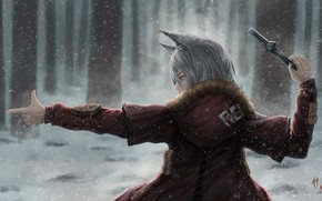 Picture Winter, Girl, Snow, Knife, Style, Girl, Fantasy, Art, Art, Winter, Style, Snow, Fiction, Fiction, Illustration, …