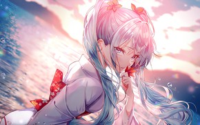 Picture sea, drops, horizon, kimono, vocaloid, Hatsune Miku, maple leaf, Vocaloid, blue hair, Hatsune Miku, bangs, …