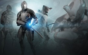 Picture weapons, background, the game, warrior, armor, Warframe