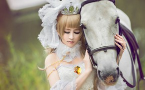 Picture girl, horse, horse, Asian