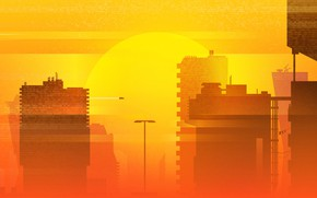 Wallpaper Sunset, The sun, Minimalism, The city, Summer, Synth, Retrowave, Synthwave, Futuresynth, Sintav, Retrouve, by Michael ...