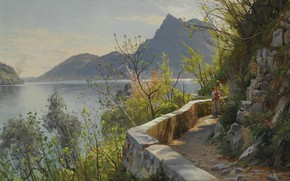 Picture Danish painter, Lake Lugano, 1910, Lake Lugano, Peter Merk Of Menstad, Peder Mørk Mønsted, Danish …